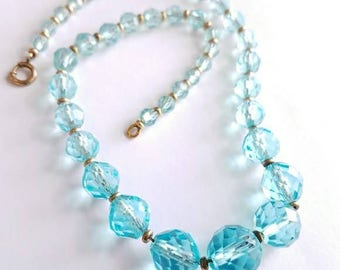 Art Deco aqua blue cut crystal necklace by Simmons signed Art Deco flapper jewelry