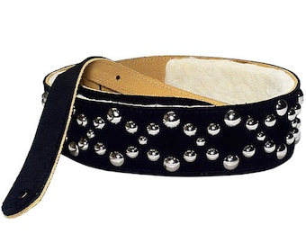 Guitar Strap in Suede with Poly Fleece Lining Studded with Silver Dome Rivets