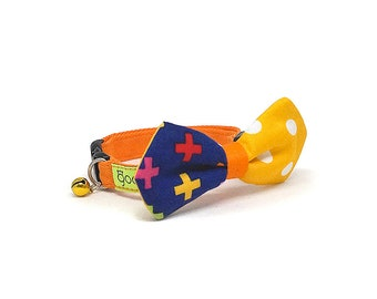 GOOOD Cat Collar   Mighty Angled Bow - Funky Fest   100% Pattern Navy & Yellow Fabric   Safety Breakaway Buckle