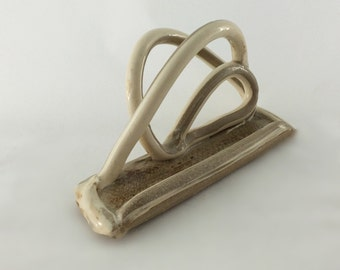 LOOPING LETTER LODGING Coils of Brown & White Stoneware Clay Swirls to Rest on Hand Formed Base - Neutrals For Any Decor, Holds Notes, Cards