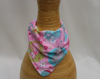 Kitty Cat Pink Bandana Bib for Baby Girl