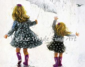 Sisters Art Print, two blonde girls, two blonde sisters, rain sisters, girls room art, mother gift, rain girls, wall art, Vickie Wade art