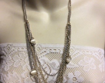 Vintage signed Loft white moonstone beads multi strand chains necklace .