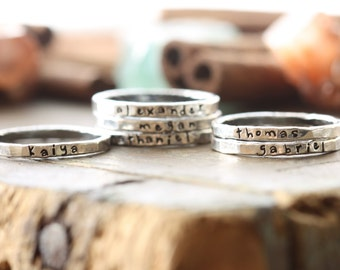 Personalized stackable stacking rings...hand stamped fine silver stacking rings. mothers rings. push present idea. Gift idea for mom