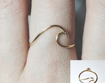 NON ADJUSTABLE wave ring sterling silver gold filled/surf/surfer/ocean wave ring/ocean ring/silver wave ring/gold wave ring/ocean jewelry