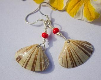 Red Striped Shell Beach Mermaid Earrings