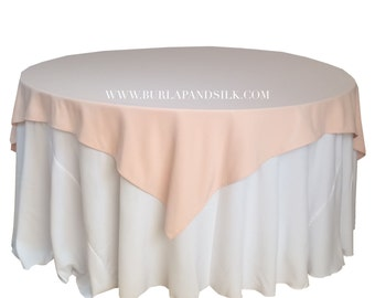 Blush Table Overlays 85 x 85 inches, Table Overlays for 6 FT Round Tables, Square Blush Tablecloths | Wholesale Blush Table Linens