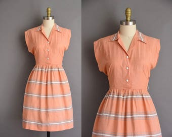 Bonnie Baxter apricot cotton 50s vintage dress. 1950s vintage dress