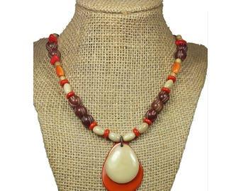 Orange Tagua Necklace - Orange Necklace - Tagua Nut Necklace
