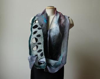 Painted silk and felt scarf