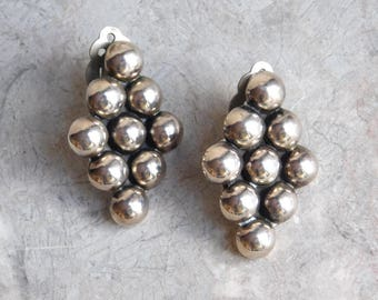 Vintage Mexican Sterling Silver Large Geometric Earrings - 1980s Clip-Ons w/ Balls in Diamond Shape - Taxco Artisan Made TA-48 Signed
