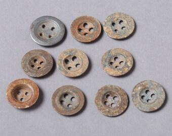 Set of 10 Antique original different buttons (n15)
