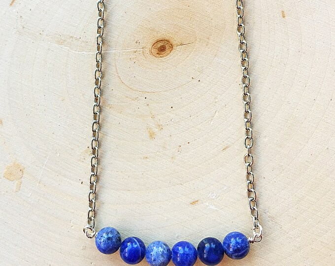 Sodalite Bead Necklace, Blue Stone Jewelry, Healing Crystal, Silver Chain Pendant, Bohemian Style, Gifts For Her, Bridesmaid Gift, Handmade