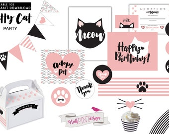 Kitty Cat Birthday Party Printable Package