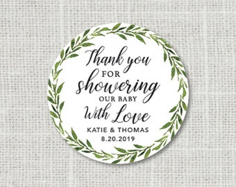 Greenery Baby Shower Stickers Baby Party Stickers Baby Shower Stickers For Favors Baby Party Labels Favor Stickers Greenery Shower Stickers