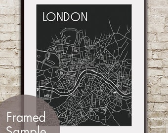 London Map Art Print - Modern Artist Sketch (featured in Black)  London Street Map / Metro Retro Art Prints