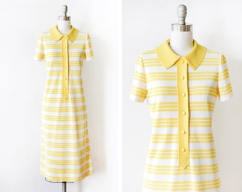 60s striped mod dress, vintage 1960s yellow + white dress, mod scooter dress, button up retro sixties short sleeve shift dress, small medium