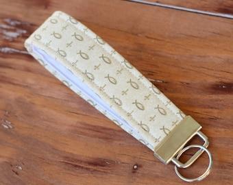 Wristlet Key Fob, cross gift, fish keychain, Christian gift, wrist key chain, Religious gift, cotton cream key holder, Cross, , key lanyard