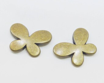 2 20/30 MM bronze Butterfly charms