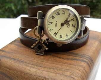 Sale - Wrap Around Watch - Leather Wrap Watch - Choose leather color - Bronze Wrist Watch - Bird House Charm or No Charm - Watch