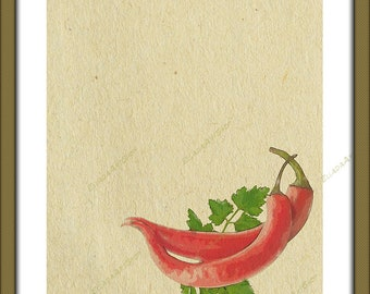 Red pepper on cane paper in watercolor style.