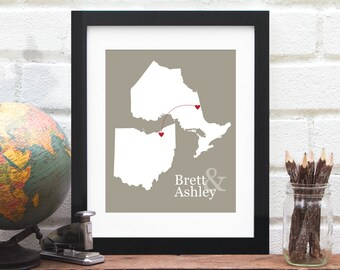 Canadian Province and US State Map, Long Distance, Two Countries, Miss You Location Map, Far Away Gift, Gift for Mom, Long Distance