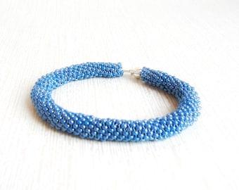 Azure Blue seed bead minimalist bracelet for women Beaded trend now handmade bracelet blue beaded bracelet Gift for women