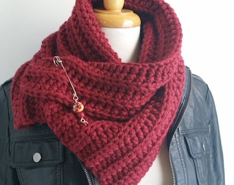 Red Handknit Scarf - Red Ochre Cowl with Shawl Pin - Crochet Neckwarmer