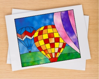 Hot Air Balloon Suncatcher Stained Glass Pattern PDF Digital Download