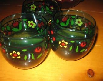 Vtg set of six aqua Marine Mod floral Roly Poly rock glasses heavy vtg mid century barware /hand blown gorgeous /rock / martini/ tiki bar/