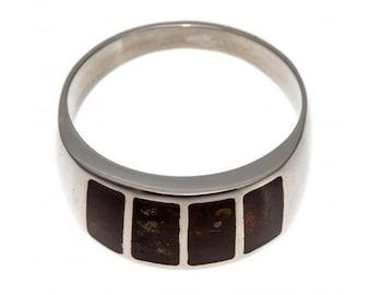 Amber Silver Ring, Dark Brown Amber, Unisex | Ring Size 8.0 US