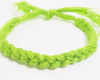 10 Lime Green Bracelets Crocheted Lymphoma Cancer Awareness Color Bracelet  - Qty 10 Custom colors - School team colors