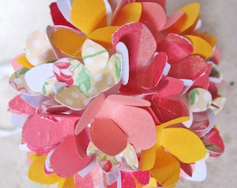 bright peach, yellow, coral paper flower christmas ornament