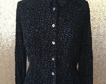 vintage black semi sheer flocked button down collared blouse
