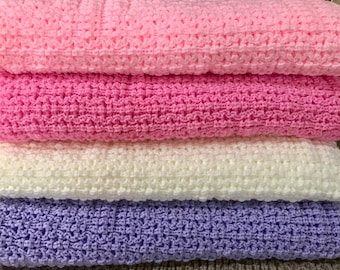 Baby Blanket, Knitted, Light Pink, Bright Pink, Natural , Baby Lavender