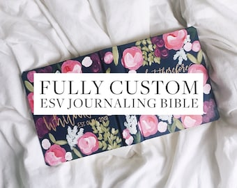 Fully Custom ESV Painted Journaling Bible // mountains, galaxy, nature, floral painted personalized journaling bible