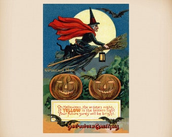 Halloween Witch Pumpkin New 4x6 Vintage Postcard Image Photo Print HA05