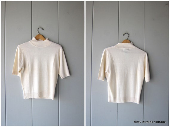 Silk Knit Top | Cream Thin Knit Shirt | Short Sleeve Spring Sweater Top Preppy Modern Minimal Basic Tee Womens Medium Large
