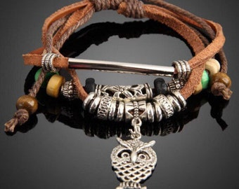 Owl Boho Leather Bracelet