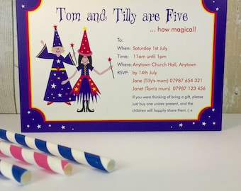 Pack of 16 Magic Show Personalised Party Invites or Thank You Cards