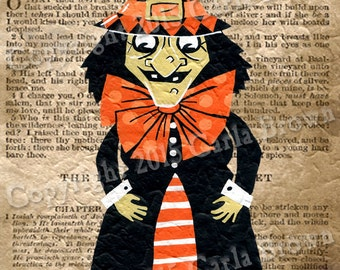 Retro Halloween Witch Clipart Vintage Style Digital Download clip art - hand painted image