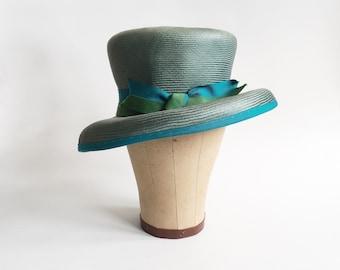 Vintage Blue Green Woven Hat - Asymmetrical