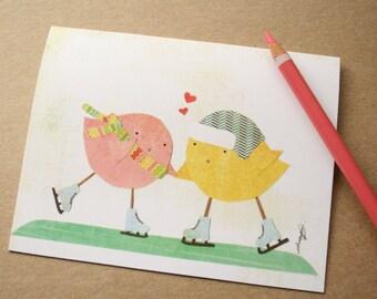 CARD: Ice-Skating Lovebirds - Blank Card