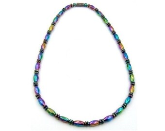 Rainbow Magnetic Necklace, Magnetic Therapy Necklaces, Women Magnetic Necklaces, Hematite Necklaces #MHN-117