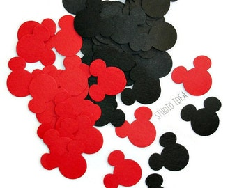 "Mixed Red & Black Mickey Head 1"" Confetti, Cut outs - Set of 60pcs, 120pcs"
