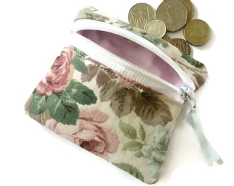 vintage rose coin purse, change purse, zipped pouch