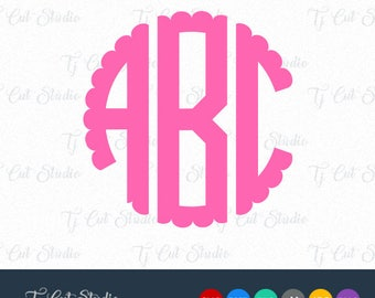 scalloped monogram svg, circle Monogram Svg, Two Letters Circle Monogram svg,  Cut Files For Silhouette,Cricut.svg dxf png jpg ai