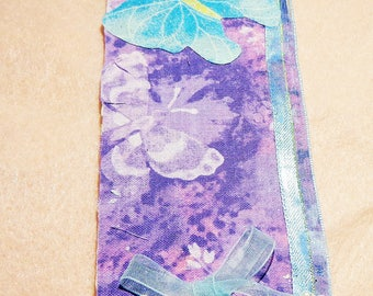 1 Fabric handmade Bookmark //cut out from matt board//or water color paper// and embellished
