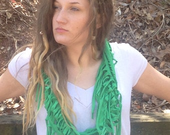 upcycled t-shirt scarf, green woven with streamers