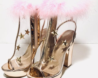 Star struck clear feather heels | rose gold | pink heels | pink feathers | rose gold shoes | gold stars | star heels | clear heels
